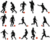 Vector clipart: soccer player silhouettes set