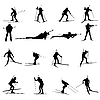 Biathlon silhouette set | Stock Vector Graphics