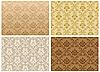 Vector clipart: seamless damask pattern set