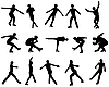 Vector clipart: Mans figure skating silhouette set