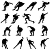 Vector clipart: skating man silhouette set