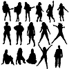 Vector clipart: women silhouettes