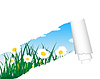 Vector clipart: meadow silhouettes with ripped stripe