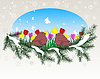 Vector clipart: winter window with summer