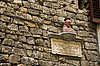 Sculpture Domum on building wall near cathedral Duomo. Florenc | Stock Foto