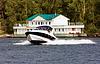 Speedy motorboat at river   Stock Foto