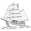 Vector clipart: Sketch of nautical sailing vessel