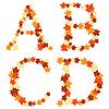 Векторный клипарт: Осенние листья клена письмо