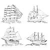 Векторный клипарт: Набор эскиз парусное судно
