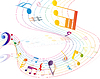 Vector clipart: Multicolour musical background