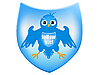 Vector clipart: blue bird on heraldic shield