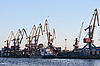 Ship and cranes in the seaport | Stock Foto