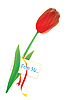Vector clipart: red tulip