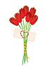 Векторный клипарт: семь красных тюльпанов