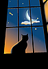 Vector clipart: cat on the window