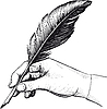 drawing of hand with feather pen