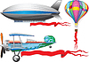 Vector clipart: airplane, balloon and airship
