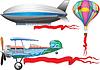 Vector clipart: airplane, balloon and airship
