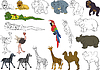 Vector clipart: set of african animals