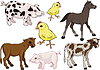 Vector clipart: Baby farm animals set