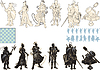 Vector clipart: beautiful chess pieces made in form of silhouettes of