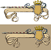 Vector clipart: Color Banner spear and crown