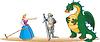 Vector clipart: Princess, Knight and Dragoon