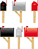 Vector clipart: Outdoor mailboxes in three different colors
