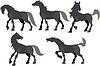Векторный клипарт: Пять силуэт резвящихся лошадей