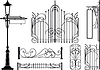 Vector clipart: Old design elements of city streets