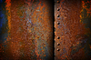 Rusty metal plate with seam | Stock Foto