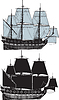 Vector clipart: two sail ships