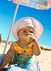 Little girl on beach | Stock Foto