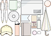 Vector clipart: office supplies and template
