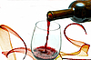 Red wine pouring down from wine bottle | Stock Foto