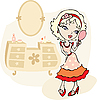 Vector clipart: girl with hand mirror