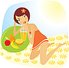 Vector clipart: girl drinks juice
