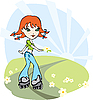 Rollerblading girl | Stock Vector Graphics