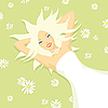 Vector clipart: sunny girl in flowers