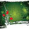 Vector clipart: green flower grunge background
