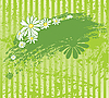 Vector clipart: green grunge background with chamomiles