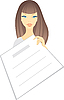 Vector clipart: girl with scheet of paper