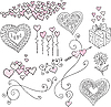 set of design elements with hearts