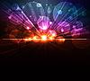 Векторный клипарт: Цифровой взрыв, абстрактный фон со светящимися фигурами