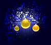 Vector clipart: Beautiful christmas floral background with golden balls