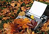 Old Typewriter and Autumn Maple Leaves | Stock Foto