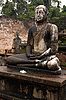 Two Seated Buddhas In The Rain | Stock Foto