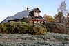 늦은 가을에 러시아의 마을 집 | Stock Foto