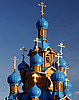 ID 3115795 | Wooden Orthodox Church with Blue Domes | High resolution stock photo | CLIPARTO