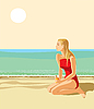 Girl on sandy beach | Stock Illustration